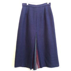 Vtg Wool Midi Skirt Plaid Centre Pleating Navy 4